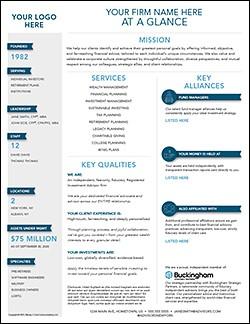 Advisor Firm Fact Sheet